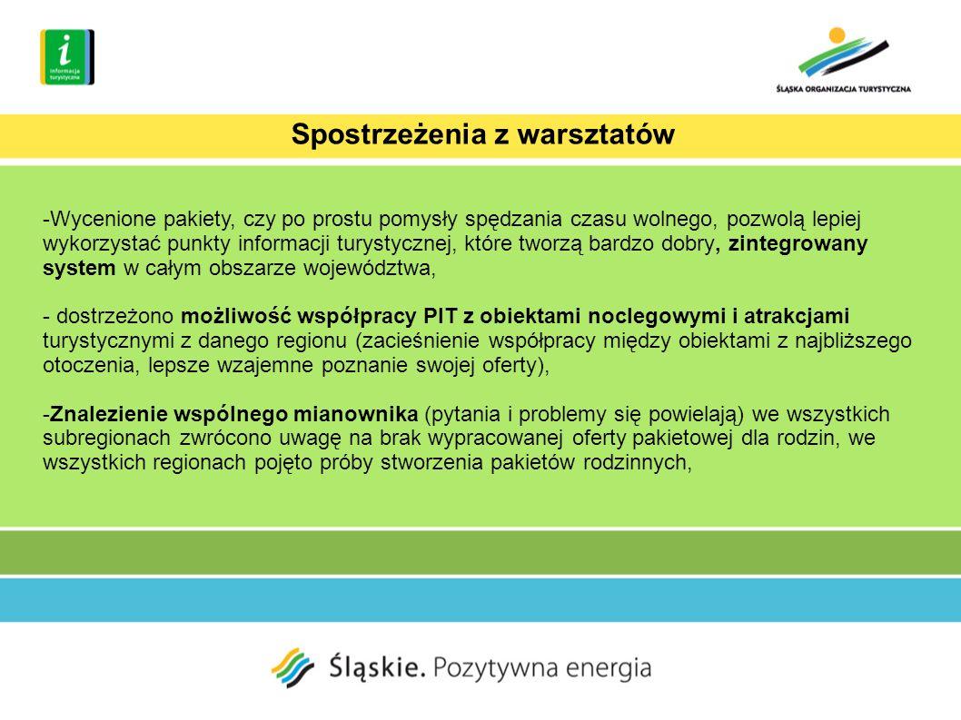 -Wycenione pakiety, czy po prostu pomysły spędzania czasu wolnego, pozwolą lepiej wykorzystać punkty informacji turystycznej, które tworzą bardzo dobry, zintegrowany system w całym obszarze województwa, - dostrzeżono możliwość współpracy PIT z obiektami noclegowymi i atrakcjami turystycznymi z danego regionu (zacieśnienie współpracy między obiektami z najbliższego otoczenia, lepsze wzajemne poznanie swojej oferty), -Znalezienie wspólnego mianownika (pytania i problemy się powielają) we wszystkich subregionach zwrócono uwagę na brak wypracowanej oferty pakietowej dla rodzin, we wszystkich regionach pojęto próby stworzenia pakietów rodzinnych, Spostrzeżenia z warsztatów