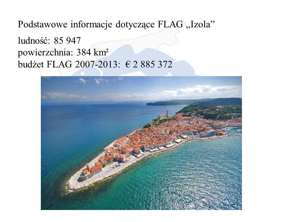 """Podstawowe informacje dotyczące FLAG """"Izola ludność: 85 947 powierzchnia: 384 km² budżet FLAG 2007-2013: € 2 885 372"""