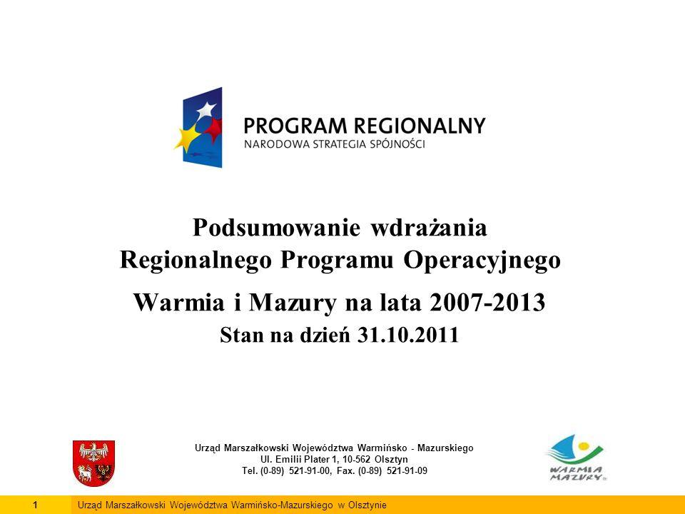 Podsumowanie wdrażania Regionalnego Programu Operacyjnego Warmia i Mazury na lata 2007-2013 Stan na dzień 31.10.2011 Urząd Marszałkowski Województwa W