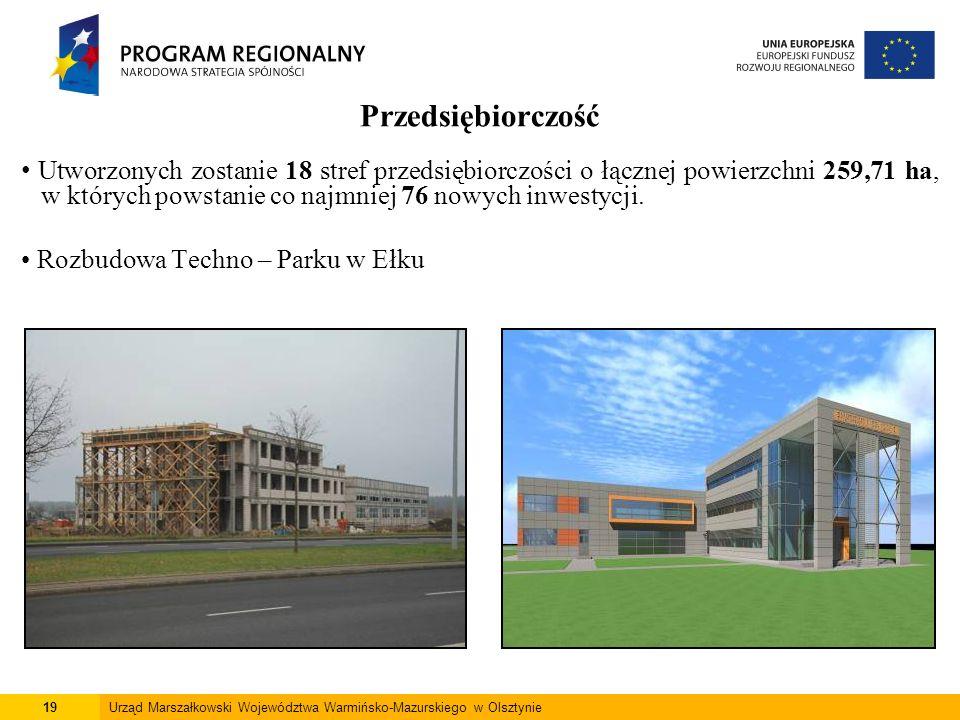 19Urząd Marszałkowski Województwa Warmińsko-Mazurskiego w Olsztynie Przedsiębiorczość Utworzonych zostanie 18 stref przedsiębiorczości o łącznej powie