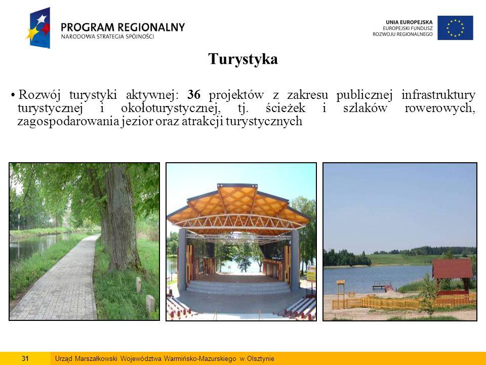 31Urząd Marszałkowski Województwa Warmińsko-Mazurskiego w Olsztynie Turystyka Rozwój turystyki aktywnej: 36 projektów z zakresu publicznej infrastrukt