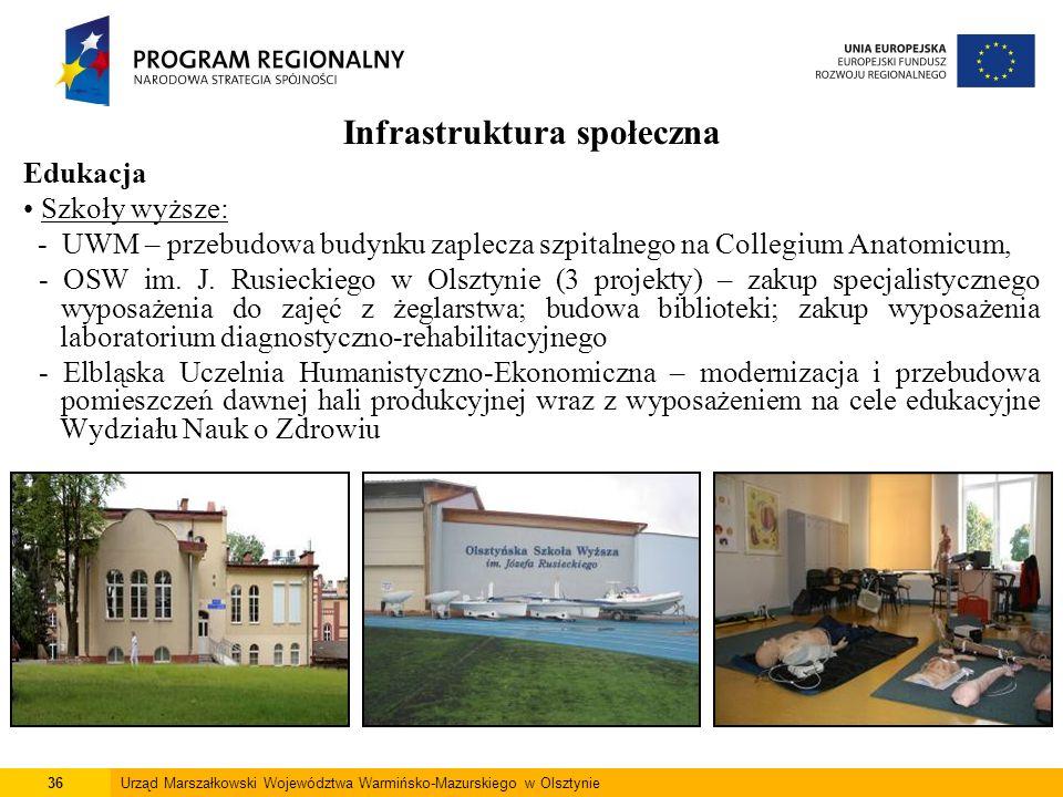 36Urząd Marszałkowski Województwa Warmińsko-Mazurskiego w Olsztynie Infrastruktura społeczna Edukacja Szkoły wyższe: - UWM – przebudowa budynku zaplec