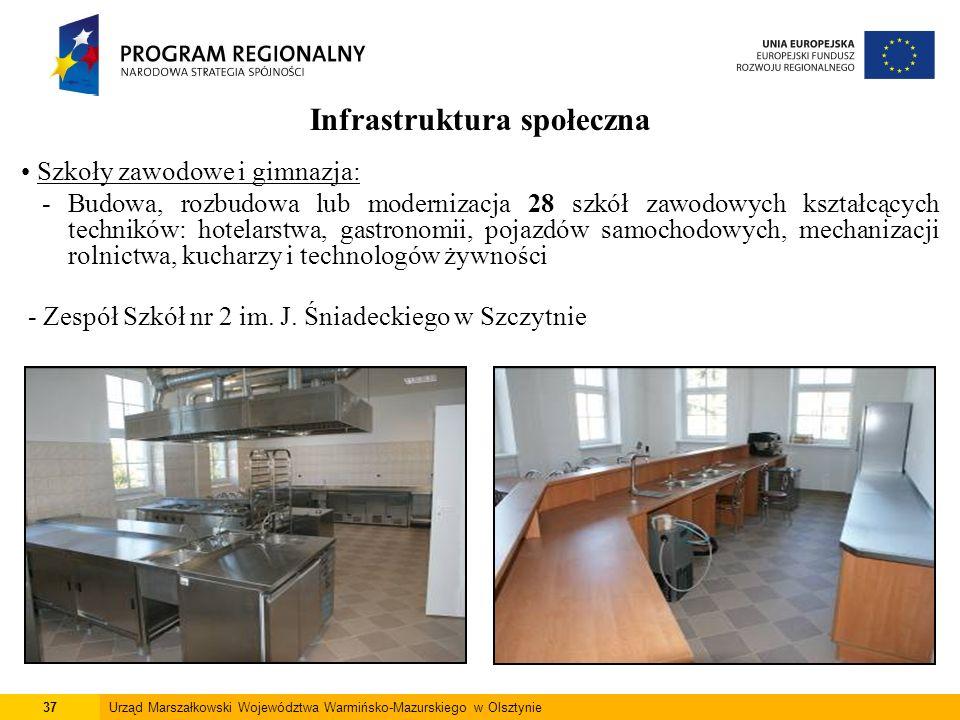 37Urząd Marszałkowski Województwa Warmińsko-Mazurskiego w Olsztynie Infrastruktura społeczna Szkoły zawodowe i gimnazja: - Budowa, rozbudowa lub moder