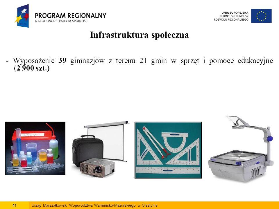 41Urząd Marszałkowski Województwa Warmińsko-Mazurskiego w Olsztynie Infrastruktura społeczna - Wyposażenie 39 gimnazjów z terenu 21 gmin w sprzęt i po