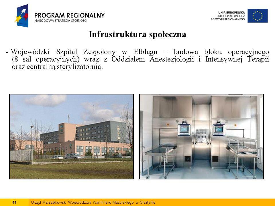 44Urząd Marszałkowski Województwa Warmińsko-Mazurskiego w Olsztynie Infrastruktura społeczna - Wojewódzki Szpital Zespolony w Elblągu – budowa bloku o
