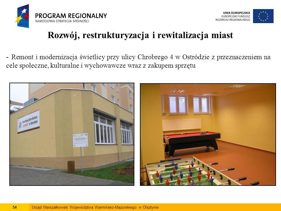 54Urząd Marszałkowski Województwa Warmińsko-Mazurskiego w Olsztynie Rozwój, restrukturyzacja i rewitalizacja miast - Remont i modernizacja świetlicy p