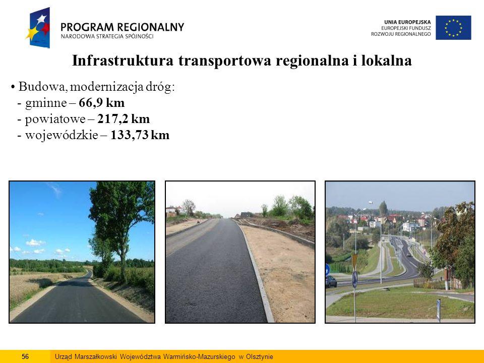 56Urząd Marszałkowski Województwa Warmińsko-Mazurskiego w Olsztynie Infrastruktura transportowa regionalna i lokalna Budowa, modernizacja dróg: - gmin