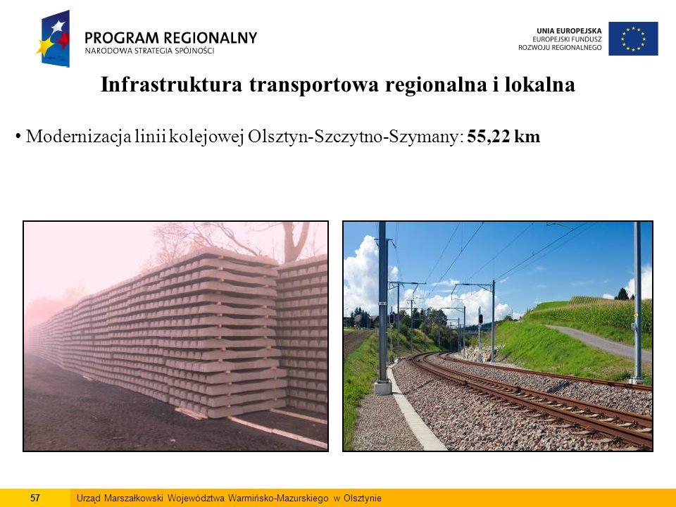 57Urząd Marszałkowski Województwa Warmińsko-Mazurskiego w Olsztynie Infrastruktura transportowa regionalna i lokalna Modernizacja linii kolejowej Olsz