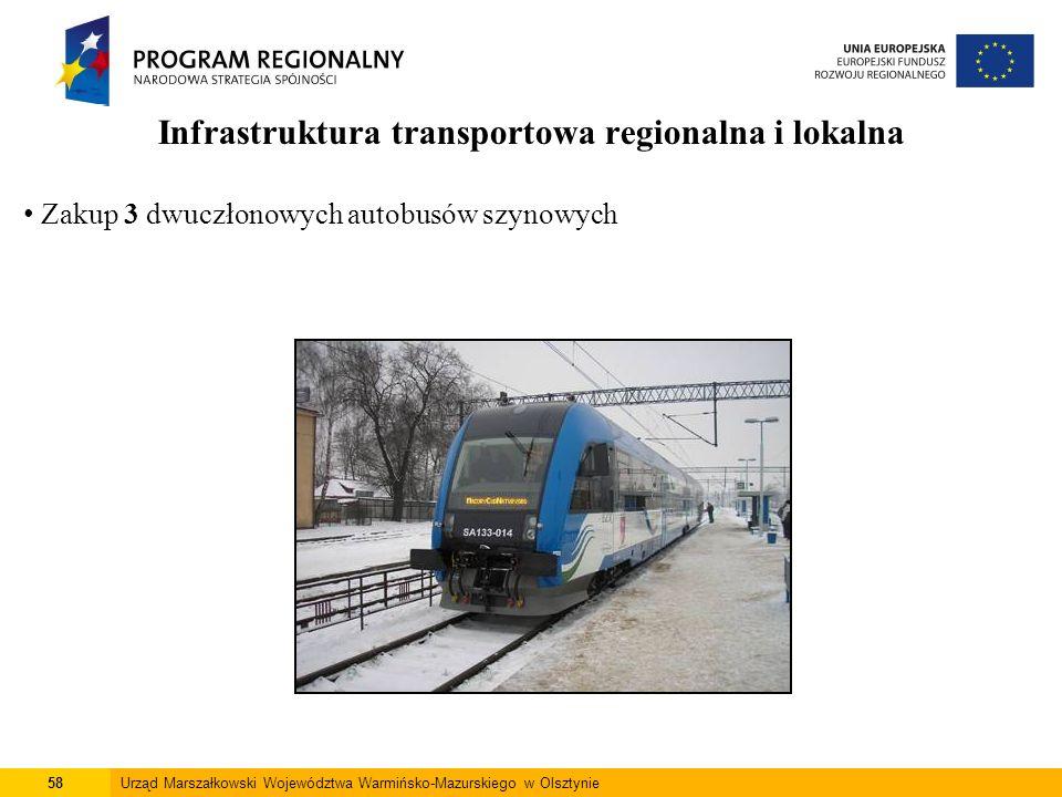 58Urząd Marszałkowski Województwa Warmińsko-Mazurskiego w Olsztynie Infrastruktura transportowa regionalna i lokalna Zakup 3 dwuczłonowych autobusów s