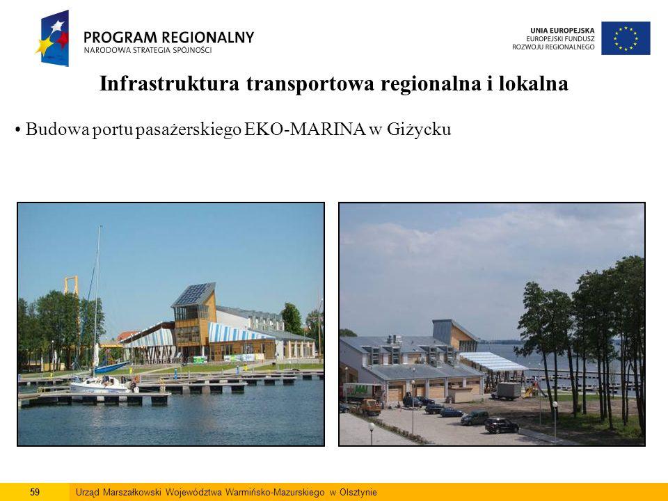 59Urząd Marszałkowski Województwa Warmińsko-Mazurskiego w Olsztynie Infrastruktura transportowa regionalna i lokalna Budowa portu pasażerskiego EKO-MA
