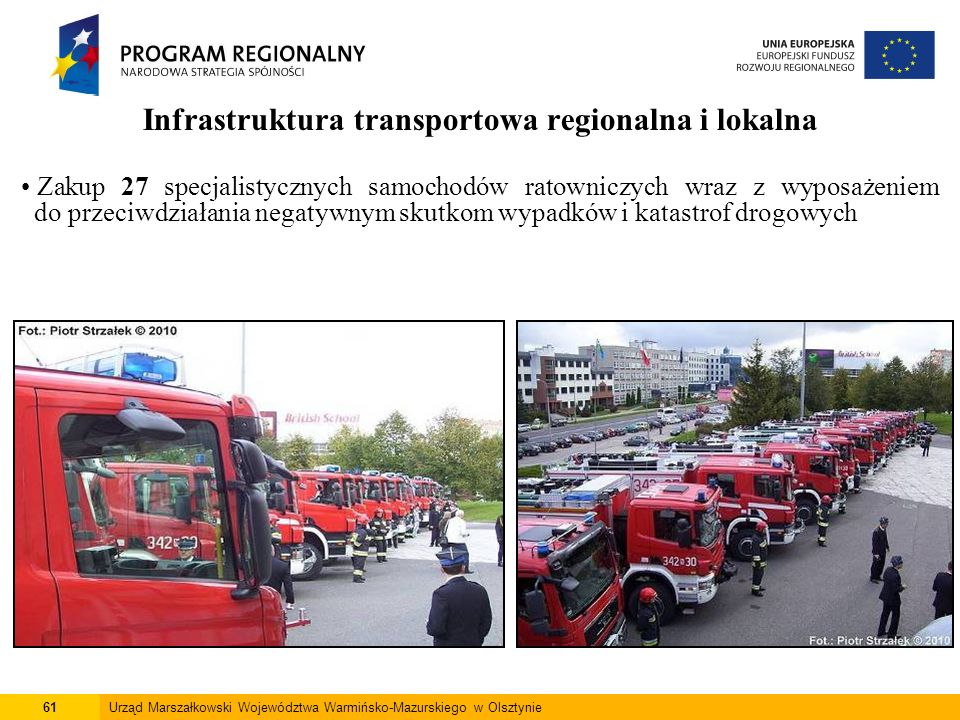 61Urząd Marszałkowski Województwa Warmińsko-Mazurskiego w Olsztynie Infrastruktura transportowa regionalna i lokalna Zakup 27 specjalistycznych samoch