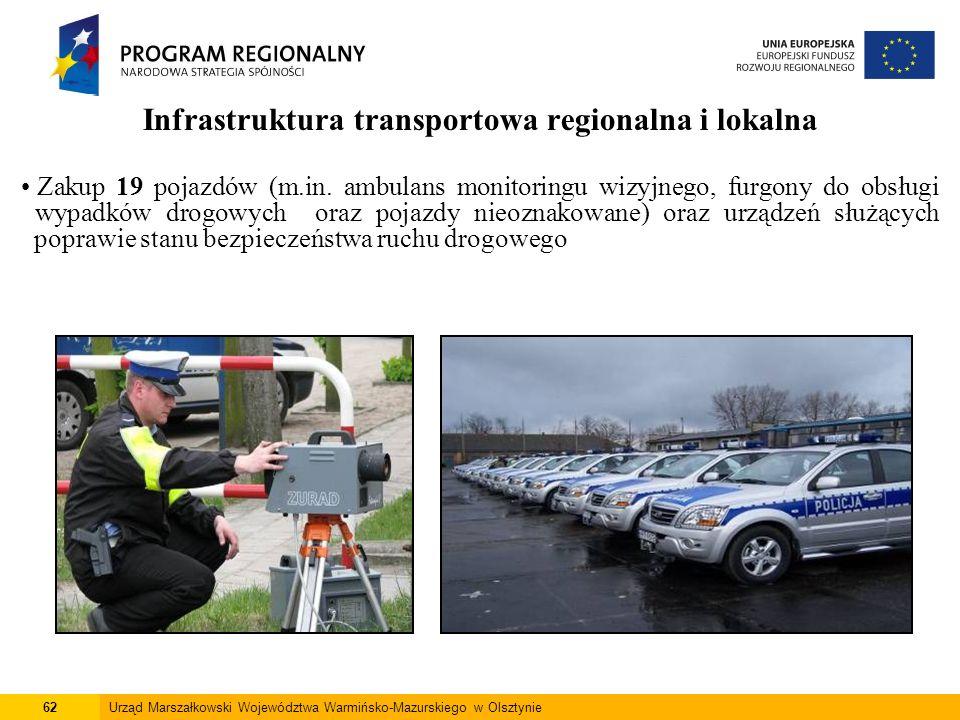 62Urząd Marszałkowski Województwa Warmińsko-Mazurskiego w Olsztynie Infrastruktura transportowa regionalna i lokalna Zakup 19 pojazdów (m.in. ambulans