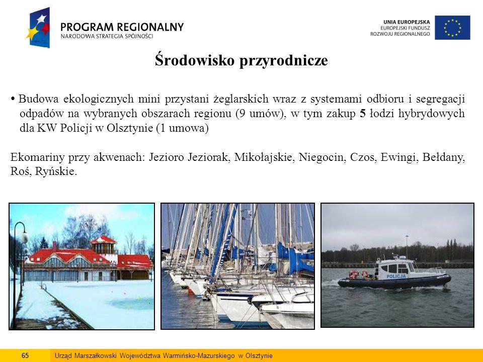 65Urząd Marszałkowski Województwa Warmińsko-Mazurskiego w Olsztynie Środowisko przyrodnicze Budowa ekologicznych mini przystani żeglarskich wraz z sys