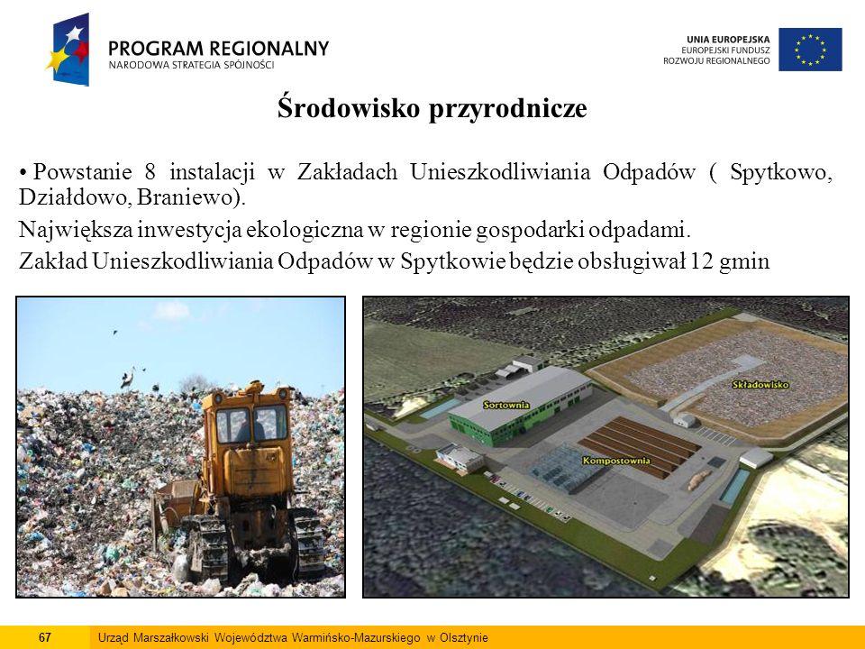 67Urząd Marszałkowski Województwa Warmińsko-Mazurskiego w Olsztynie Środowisko przyrodnicze Powstanie 8 instalacji w Zakładach Unieszkodliwiania Odpad