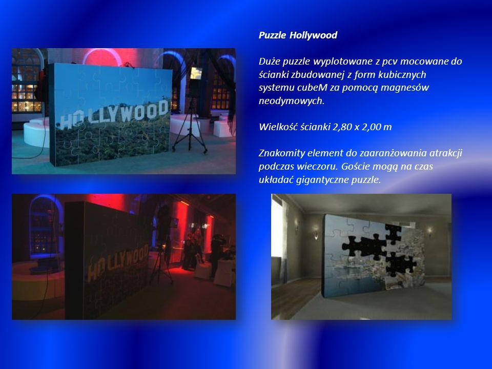 Puzzle Hollywood Duże puzzle wyplotowane z pcv mocowane do ścianki zbudowanej z form kubicznych systemu cubeM za pomocą magnesów neodymowych.