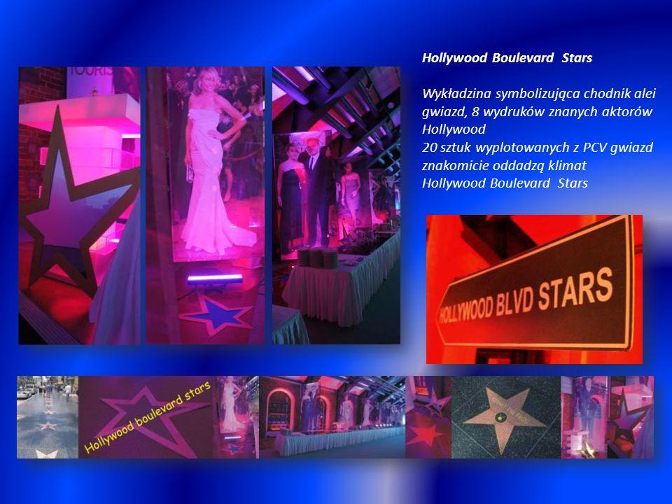 Hollywood Boulevard Stars Wykładzina symbolizująca chodnik alei gwiazd, 8 wydruków znanych aktorów Hollywood 20 sztuk wyplotowanych z PCV gwiazd znakomicie oddadzą klimat Hollywood Boulevard Stars