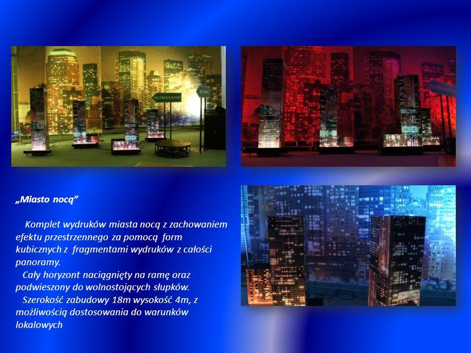 """""""Miasto nocą Komplet wydruków miasta nocą z zachowaniem efektu przestrzennego za pomocą form kubicznych z fragmentami wydruków z całości panoramy."""