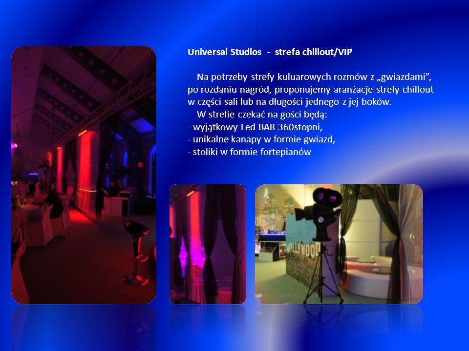 """Universal Studios - strefa chillout/VIP Na potrzeby strefy kuluarowych rozmów z """"gwiazdami , po rozdaniu nagród, proponujemy aranżacje strefy chillout w części sali lub na długości jednego z jej boków."""