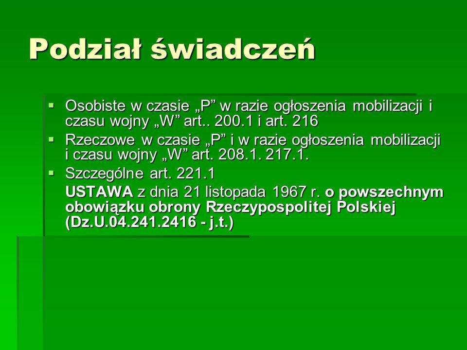 """Podział świadczeń  Osobiste w czasie """"P w razie ogłoszenia mobilizacji i czasu wojny """"W art.."""