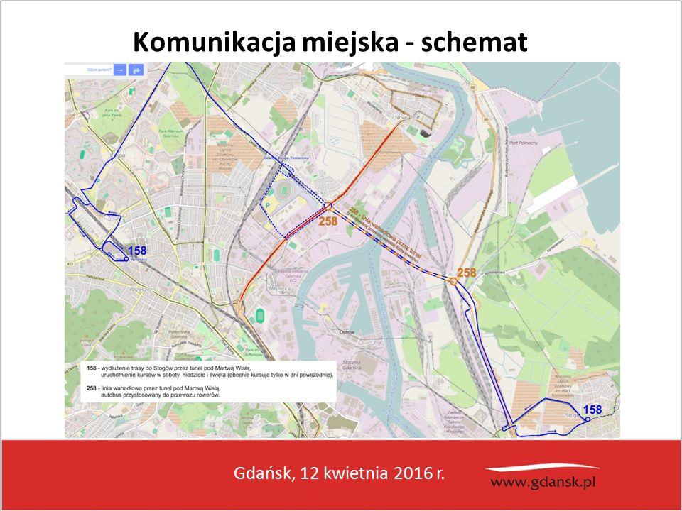 Gdańsk, 12 kwietnia 2016 r. Komunikacja miejska - schemat