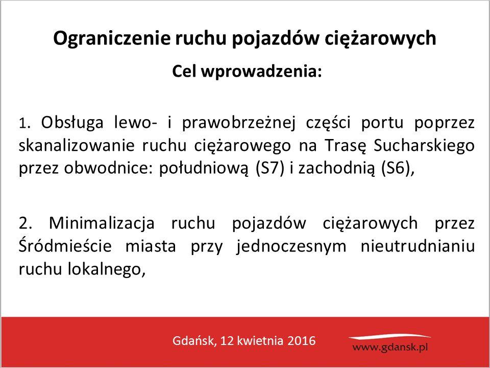 Gdańsk, 12 kwietnia 2016 Ograniczenie ruchu pojazdów ciężarowych Cel wprowadzenia: 1.