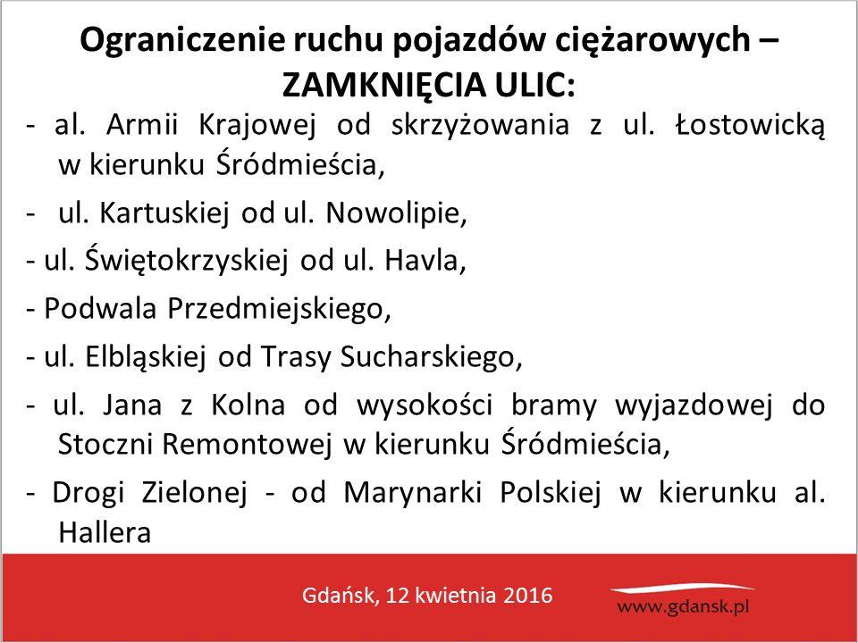 Gdańsk, 12 kwietnia 2016 Ograniczenie ruchu pojazdów ciężarowych – ZAMKNIĘCIA ULIC: - al.