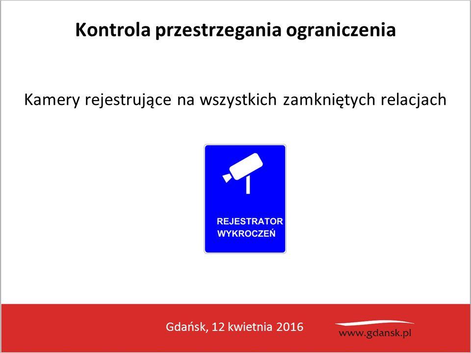 Gdańsk, 12 kwietnia 2016 Kontrola przestrzegania ograniczenia Kamery rejestrujące na wszystkich zamkniętych relacjach