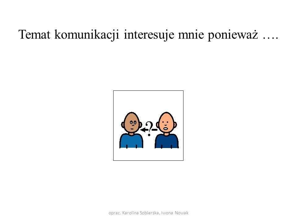 Temat komunikacji interesuje mnie ponieważ …. oprac. Karolina Sobierska, Iwona Nowak