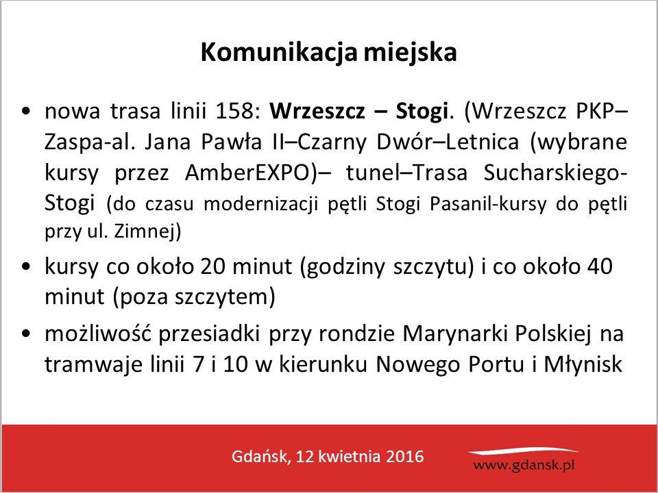Gdańsk, 12 kwietnia 2016 Komunikacja miejska nowa trasa linii 158: Wrzeszcz – Stogi. (Wrzeszcz PKP– Zaspa-al. Jana Pawła II–Czarny Dwór–Letnica (wybra