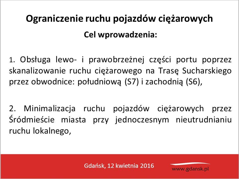 Gdańsk, 12 kwietnia 2016 Ograniczenie ruchu pojazdów ciężarowych Cel wprowadzenia: 1. Obsługa lewo- i prawobrzeżnej części portu poprzez skanalizowani