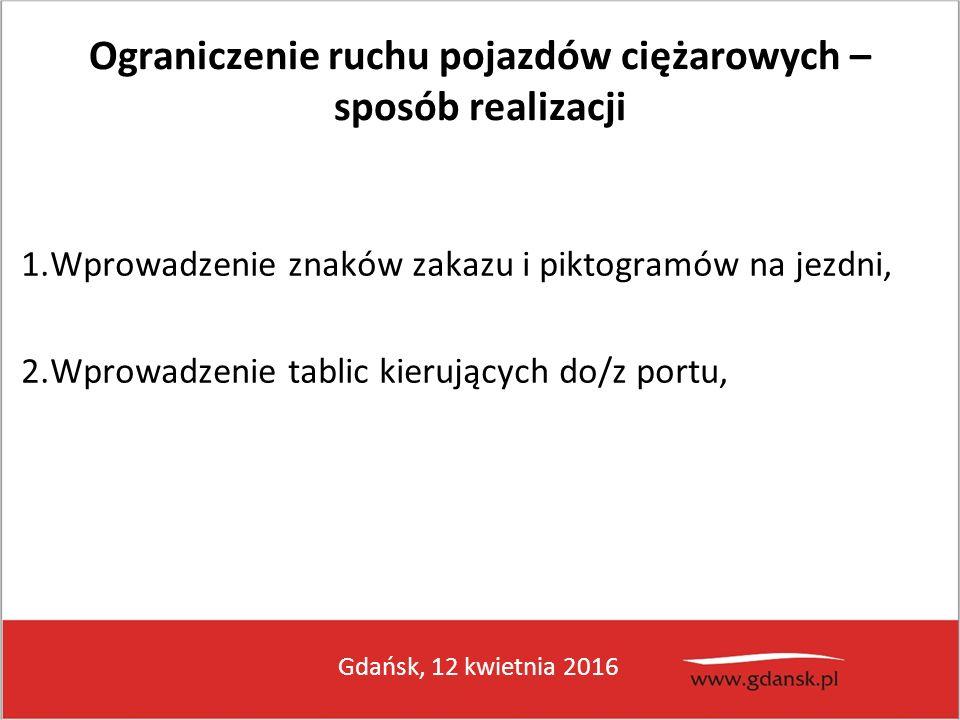 Gdańsk, 12 kwietnia 2016 Ograniczenie ruchu pojazdów ciężarowych – sposób realizacji 1.Wprowadzenie znaków zakazu i piktogramów na jezdni, 2.Wprowadze
