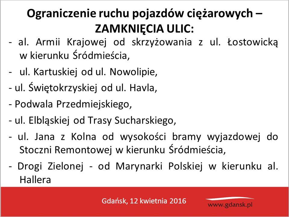Gdańsk, 12 kwietnia 2016 Ograniczenie ruchu pojazdów ciężarowych – ZAMKNIĘCIA ULIC: - al. Armii Krajowej od skrzyżowania z ul. Łostowicką w kierunku Ś
