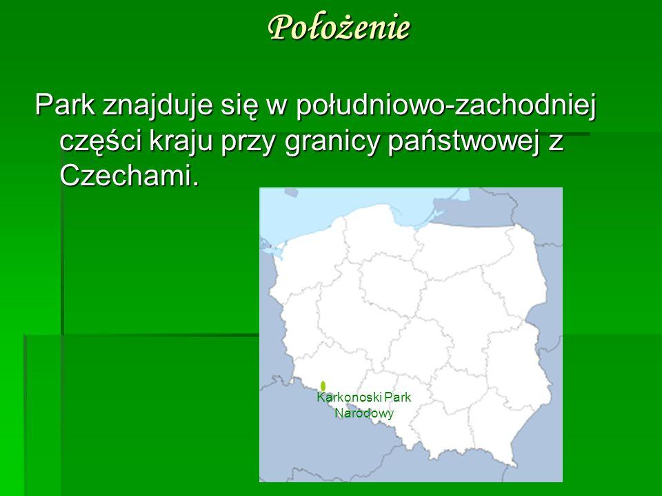 Położenie Park znajduje się w południowo-zachodniej części kraju przy granicy państwowej z Czechami. Karkonoski Park Narodowy