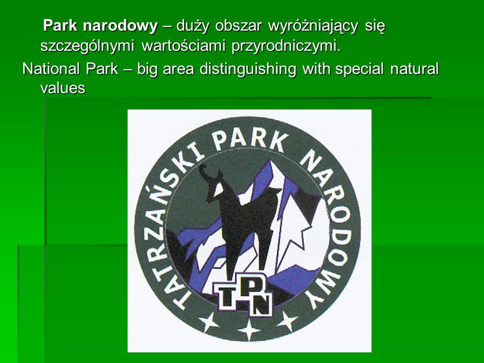 Park narodowy – duży obszar wyróżniający się szczególnymi wartościami przyrodniczymi. Park narodowy – duży obszar wyróżniający się szczególnymi wartoś