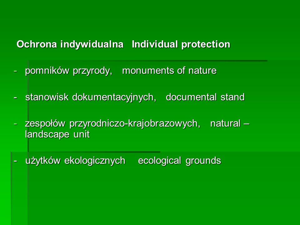 Ochrona indywidualna Individual protection Ochrona indywidualna Individual protection -pomników przyrody, monuments of nature - stanowisk dokumentacyj