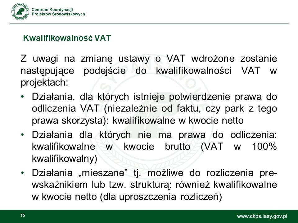 """15 Kwalifikowalność VAT Z uwagi na zmianę ustawy o VAT wdrożone zostanie następujące podejście do kwalifikowalności VAT w projektach: Działania, dla których istnieje potwierdzenie prawa do odliczenia VAT (niezależnie od faktu, czy park z tego prawa skorzysta): kwalifikowalne w kwocie netto Działania dla których nie ma prawa do odliczenia: kwalifikowalne w kwocie brutto (VAT w 100% kwalifikowalny) Działania """"mieszane tj."""