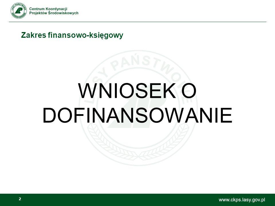 2 Zakres finansowo-księgowy WNIOSEK O DOFINANSOWANIE