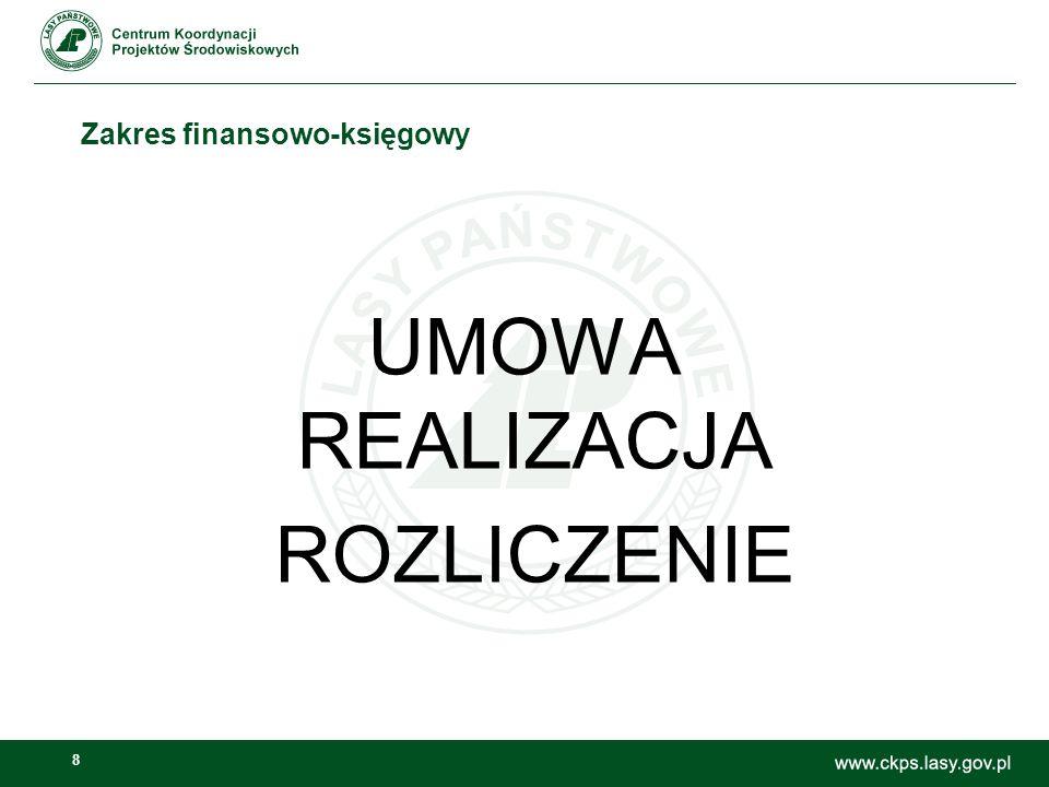 8 Zakres finansowo-księgowy UMOWA REALIZACJA ROZLICZENIE