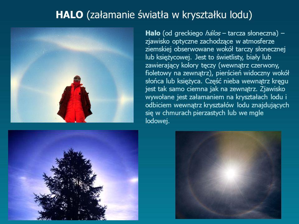 HALO (załamanie światła w kryształku lodu) Halo (od greckiego hálos – tarcza słoneczna) – zjawisko optyczne zachodzące w atmosferze ziemskiej obserwowane wokół tarczy słonecznej lub księżycowej.