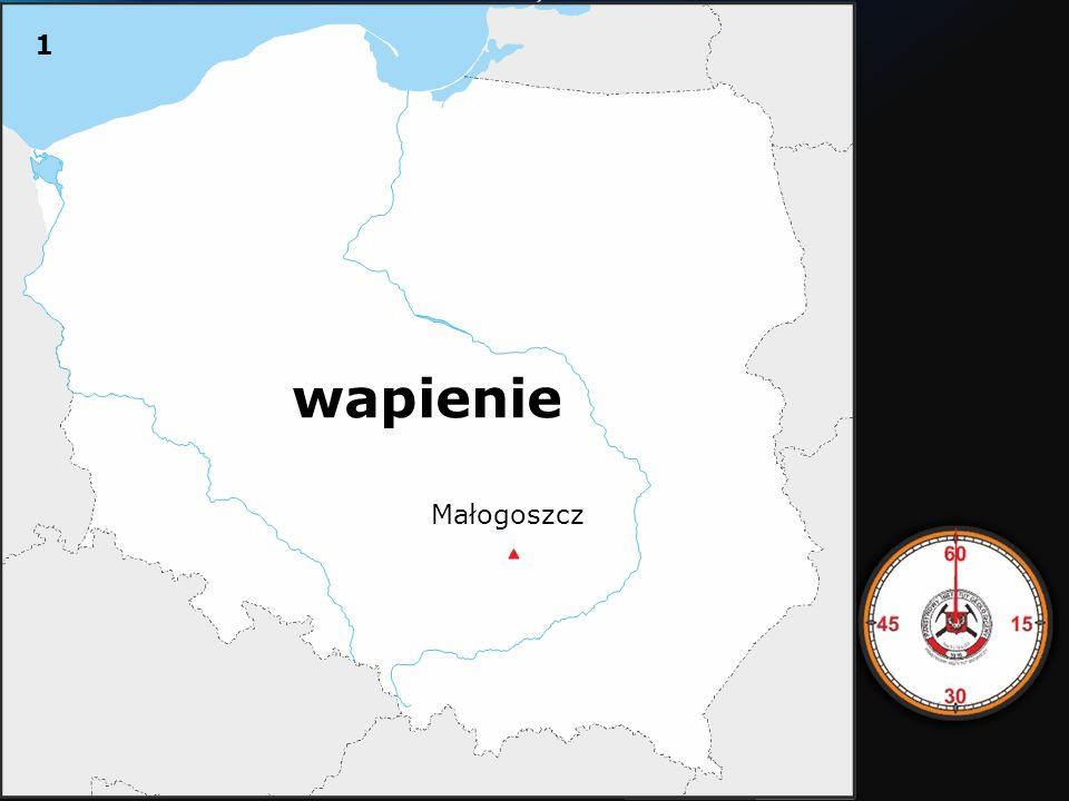 Na mapie Polski znajduje się po kolei lokalizacja 10 kamieniołomów eksploatujących obecnie lub w przeszłości skały różnego wieku z nazwami.