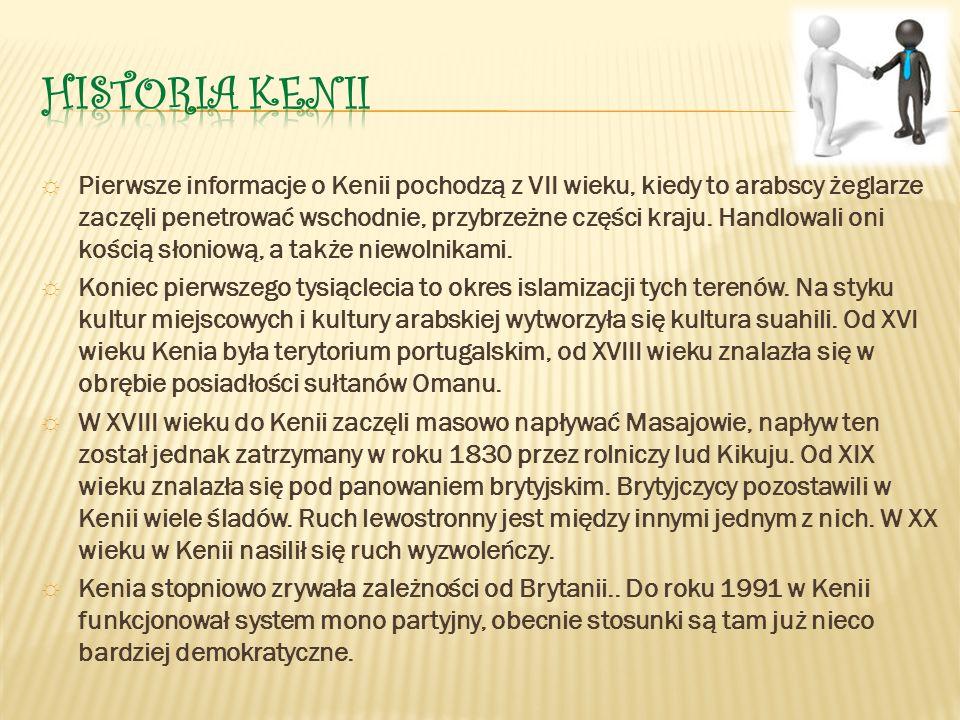 ☼ Pierwsze informacje o Kenii pochodzą z VII wieku, kiedy to arabscy żeglarze zaczęli penetrować wschodnie, przybrzeżne części kraju.