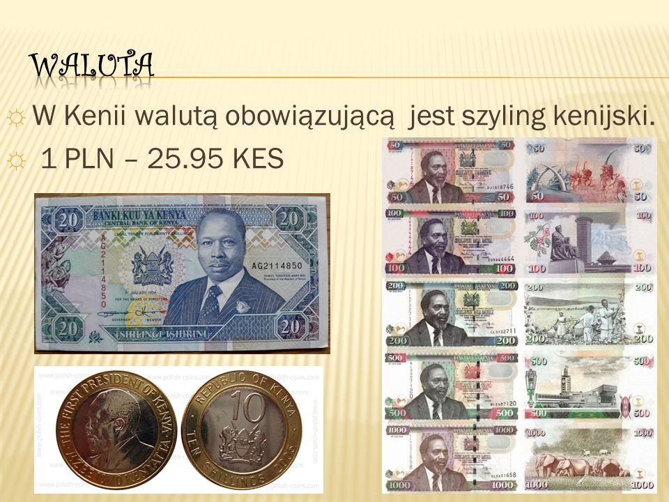 ☼ W Kenii walutą obowiązującą jest szyling kenijski. ☼ 1 PLN – 25.95 KES