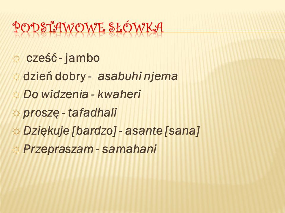 ☼ cześć - jambo ☼ dzień dobry - asabuhi njema ☼ Do widzenia - kwaheri ☼ proszę - tafadhali ☼ Dziękuje [bardzo] - asante [sana] ☼ Przepraszam - samahani