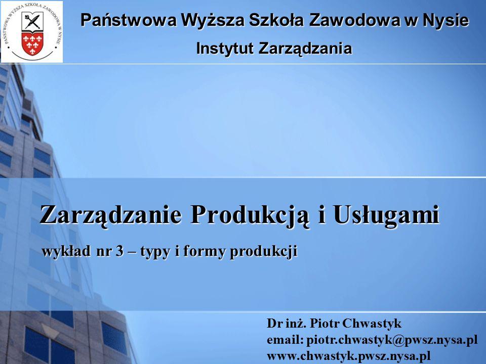 Zarządzanie Produkcją i Usługami Państwowa Wyższa Szkoła Zawodowa w Nysie Instytut Zarządzania Dr inż. Piotr Chwastyk email: piotr.chwastyk@pwsz.nysa.