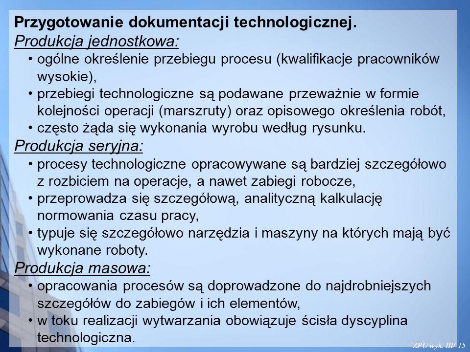 ZPU wyk. III/ 15 Przygotowanie dokumentacji technologicznej. Produkcja jednostkowa: ogólne określenie przebiegu procesu (kwalifikacje pracowników wyso