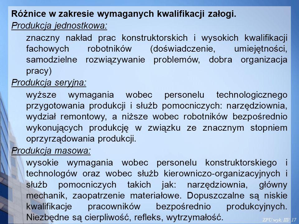 ZPU wyk. III/ 17 Różnice w zakresie wymaganych kwalifikacji załogi. Produkcja jednostkowa: znaczny nakład prac konstruktorskich i wysokich kwalifikacj