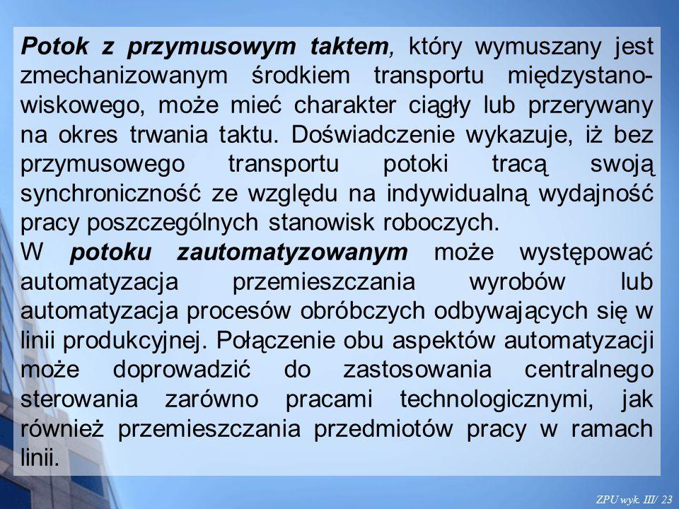 ZPU wyk. III/ 23 Potok z przymusowym taktem, który wymuszany jest zmechanizowanym środkiem transportu międzystano- wiskowego, może mieć charakter ciąg