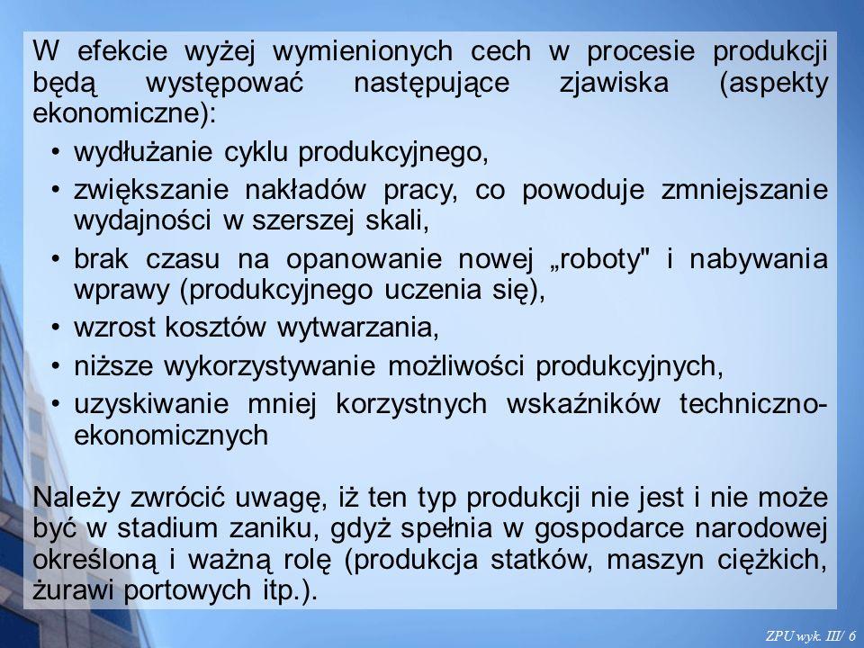 ZPU wyk. III/ 6 W efekcie wyżej wymienionych cech w procesie produkcji będą występować następujące zjawiska (aspekty ekonomiczne): wydłużanie cyklu pr