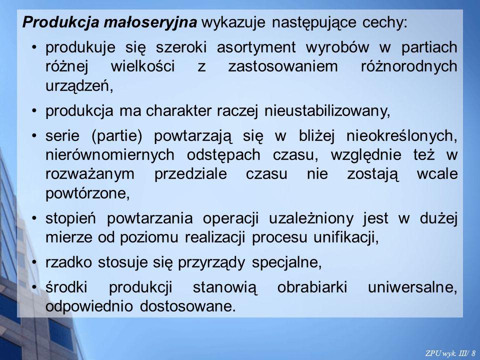 ZPU wyk. III/ 8 Produkcja małoseryjna wykazuje następujące cechy: produkuje się szeroki asortyment wyrobów w partiach różnej wielkości z zastosowaniem