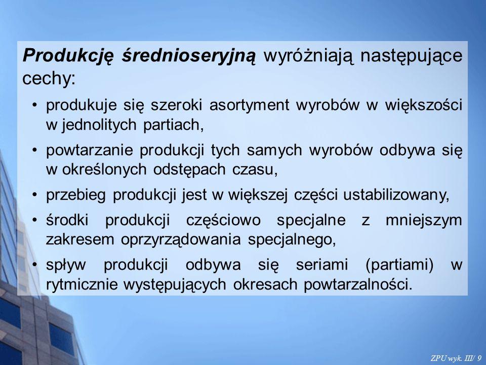 ZPU wyk. III/ 9 Produkcję średnioseryjną wyróżniają następujące cechy: produkuje się szeroki asortyment wyrobów w większości w jednolitych partiach, p